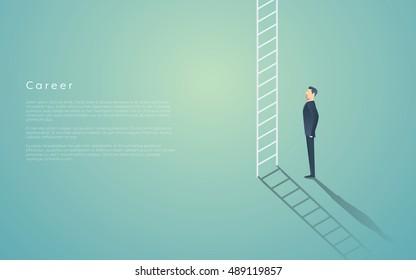 Business career ladder concept with businessman vector symbol. Corporate job promotion, progress, growth. Eps10 vector illustration.