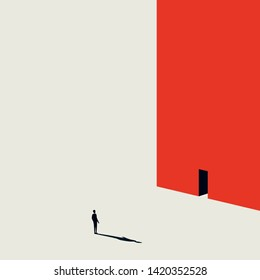 Business or career opportunity vector concept with man walking to door in wall. Minimalist art style. Symbol of achievement, challenge, success, chance, new beginning. Eps10 illustration.