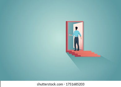 Business or career opportunity vector concept with man on ladder in front of door. Symbol of entrepreneur, challenge, freedom, decision and chance. Eps10 illustration.
