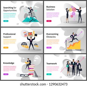 Business career and professional goals vector. Searching opportunities and business solution, support and overcoming obstacles, knowledge and teamwork. Website or webpage template landing page in flat