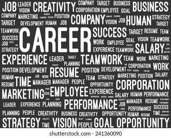 Business And Career Word Cloud On Blackboard