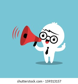 Business cartoon character with megaphone making an announcement