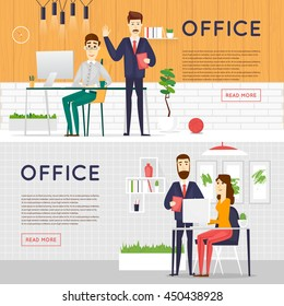 Business cartoon characters. People talking and working at the computers. Office workplace interior. Co working center. Open space. Room to work and study. Banners. Flat design vector illustration.