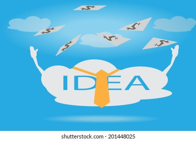Business cartoon concept, business idea cloud catch cash money in the air, blue sky background, EPS 10 vector