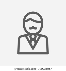 Business cartoon icon line symbol. Isolated vector illustration of businessman personage sign concept for your web site mobile app logo UI design.