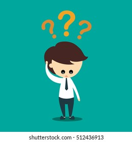 Business Cartoon Illustration concept, Businessman confused with question mark
