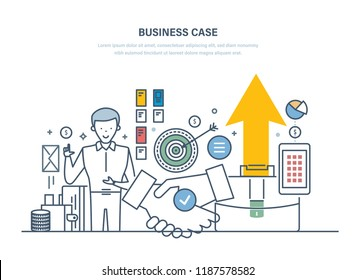 Business case, investment research. Analysis benefits, risks, development of business projects. Marketing research, portfolio, financial market benefits, profitable investment. Illustration thin line