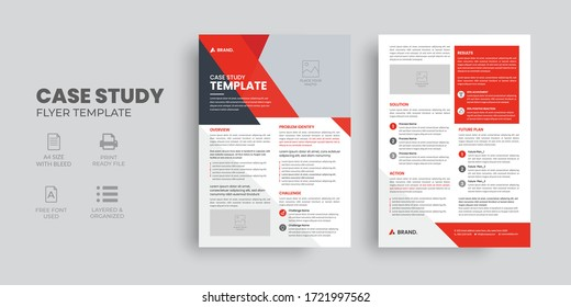 Business Case Study Template, Double Side Flyer, Brochure Cover, Poster design with Case Study Booklet