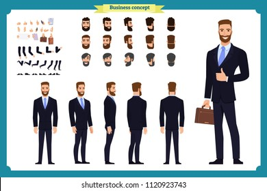 Business casual fashion. Front, side, back view animated character. Manager man character constructor with various views, hairstyles, face emotions. Cartoon style, flat vector isolated.guy male set