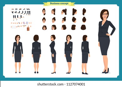 Business casual fashion. Front, side, back view animated character. Manager lady character constructor with various views, hairstyles, face emotions. Cartoon style, flat vector isolated.woman female