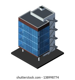 Business Center Building, Office, For Real Estate Brochures Or Web Icon. Isometric Vector EPS10