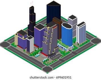 Business center. Building. Skyscraper. Apartments. Isometric. 3D.