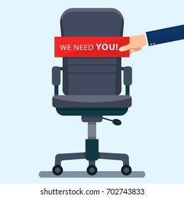 business chair with Hand holding cardboard paper with we need you message. Vector illustration in flat style