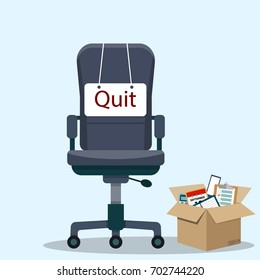 Business chair with quit message from employee or boss. Vector illustration in flat style