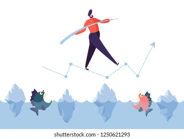 Business challenge concept. Businessman character walking on arrow above ocean with sharks. Financial risks. Vector illustration