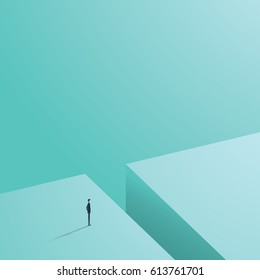 Business challenge concept with businessman in minimalistic design standing next to big hole ready, looking for solution. Eps10 vector illustration.