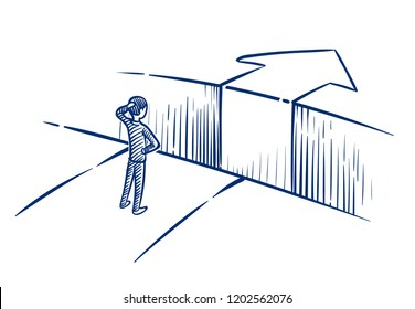 Business challenge concept. Businessman overcomes obstacle chasm on way to success. Hand drawn vector illustration. Achievement and challenge, businessman obstacle overcoming