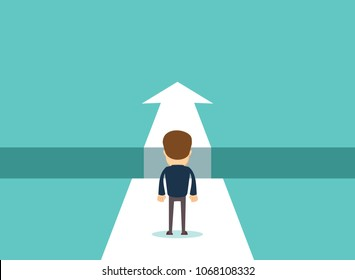 Business challenge concept with businessman walking towards gap. Symbol of success, opportunity, overcoming, ambition and courage. Stock flat vector illustration.