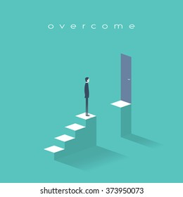 Business challenge concept with man standing on stairs. Goal or target behind obstacle. Eps10 vector illustration.