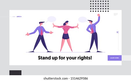 Business Challenge Different Point of View Website Landing Page. Disagreement Arguing Men Prepare to Fight. Businesswoman Trying to Stop Fighting Web Page Banner. Cartoon Flat Vector Illustration