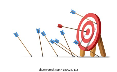 Business challenge failure concept. Lots arrows missed hitting target mark and only one hits the center. Shot miss. Failed inaccurate attempts to hit archery target. Vector illustration.