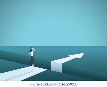 Business challenge and solution vector concept with businesswoman standing over big gap. Symbol of overcoming obstacles, strategy, analysis, creativity. eps10 vector illustration.