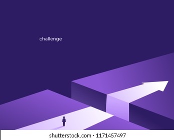 Business challenge and solution vector concept with person standing over big gap. Symbol of overcoming challenges, obstacles, strategy, analysis, creativity. vector ultra violet illustration.
