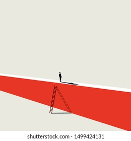 Business challenge and solution vector concept with businessman standing on top of the wall. Symbol of overcoming problems, success, opportunity. Eps10 illustration.