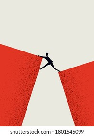 Business challenge and success vector concept with businessman climbing over gap. Symbol of ambition, motivation, opportunity and courage. Eps10 illustration.