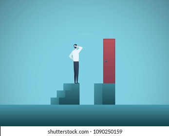 Business challenge vector concept with businessman standing on steps in front of door. Symbol of overcoming problems, obstacles, issues, solving complex situations. Eps10 vector illustration.