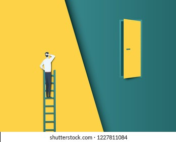 Business challenge vector concept with businessman on ladder far from door. Modern paper cutout vector style. Symbol of hard work, effort, ambition and motivation. Eps10 vector illustration.