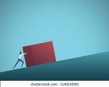 Business challenge vector concept with businesswoman as sisyphus pushing rock uphill. Symbol of difficulty, ambition, motivation, struggle. Eps10 vector illustration.