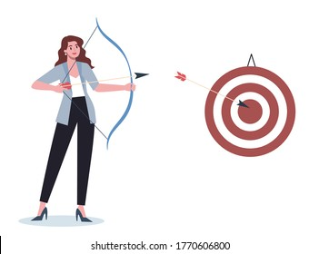 Business character aiming in target and shooting with arrow. Employee shoot the target. Ambitious woman shooting. Idea of success and motivation. Vector illustration in cartoon style