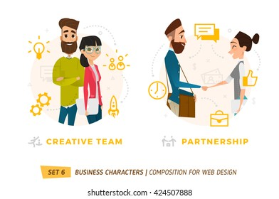 Business characters in circle. Elements for web design.