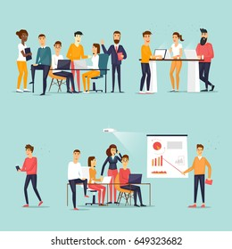 Business characters. Co working people, meeting, teamwork, collaboration and discussion, conference table, brainstorm. Workplace. Office life. Flat design vector illustration.