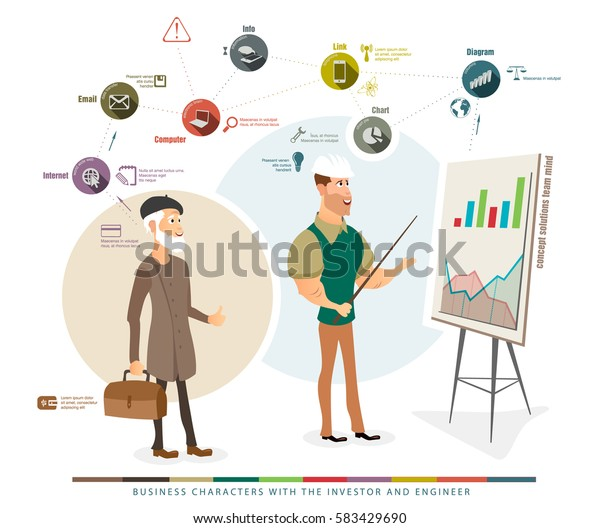 business characters with the investor and engineer