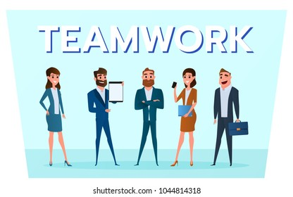 Business characters. Business people team with gadgets work to success. Cartoon Vector Illustration.