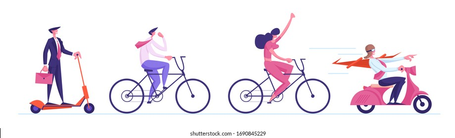 Business Characters Riding Eco Transport Scooters, and Bikes Following Businessman Leader in Red Cloak Driving Moped. Office Managers Race Challenge, Leadership. Cartoon People Vector Illustration