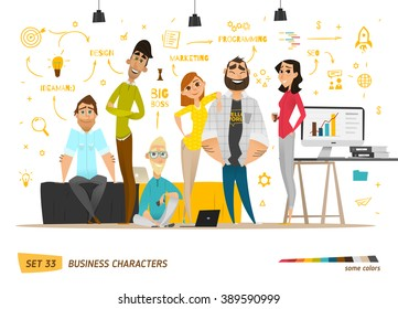 Business characters scene. Teamwork in modern business office.