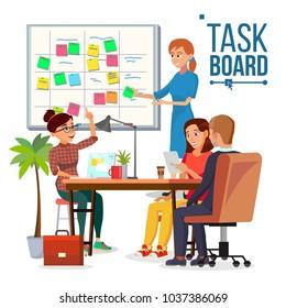 Business Characters Scrum Team Work Vector. Office Tasks Process. Scrum Planning Board. Whiteboard And Process Teamwork. Programming And Planning. Scheme Methodology. Flat Cartoon Illustration