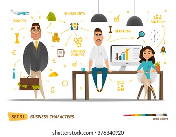 Business characters set .Group people in office
