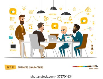 Business characters set. Working time in office