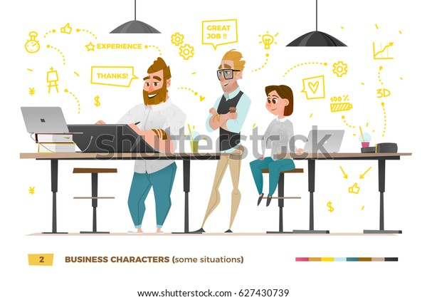 Business characters in some situations while working