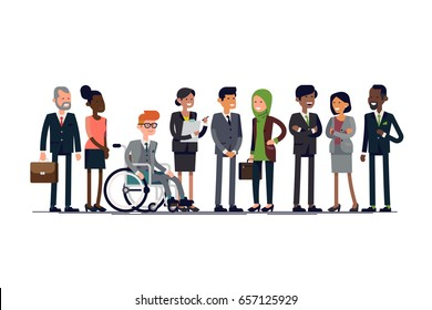Business characters vector line-up. Diverse businessmen of different ages, nationalities, genres and possibilities standing together. Equal opportunity International business team