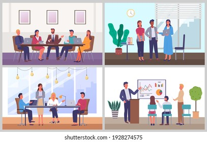 Business characters working at their workplaces at the table with computers flat design. People man and woman in modern office interior set of four scenes. Businesspeople communicating at a meeting