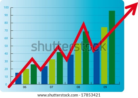 business chart colored bars arrow stock vector royalty free