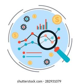 Business chart, financial statistics, market analysis concept. Flat design style vector illustration.