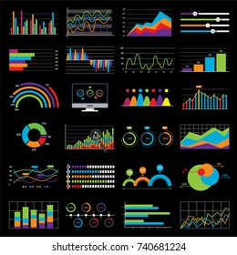 Business chart and graph data market. Elements bar pie charts diagrams and graphs flat icons in vector illustration. Black background.