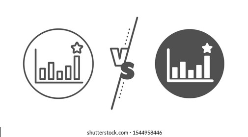 Business chart sign. Versus concept. Efficacy line icon. Analysis graph symbol. Line vs classic efficacy icon. Vector
