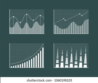 Business charts collection, poster with diagrams and business charts, lines and dots, squared background of dark green isolated on vector illustration